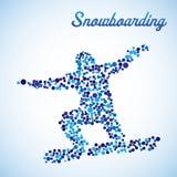 Snowboarder astratto nel salto Fotografia Stock