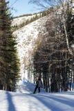Snowboarder auf den Steigungen Stockbild