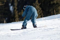 Snowboarder auf Rennen Stockfotografie