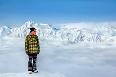 Snowboarder in the high mountains royalty free stock images