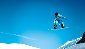 Snowboarder big jump Royalty Free Stock Images