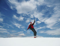 Snowboarder. The snowboarder on blue background stock photography