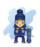Snowboarder. Boy athlete holding a snowboard Stock Image