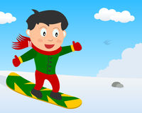 Snowboarder Boy on the Snow in the Park Royalty Free Stock Photo