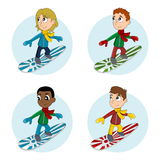 Snowboarder boys cartoon Stock Photography