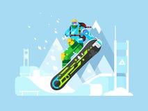 Snowboarder cartoon character Stock Photo