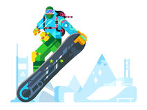 Snowboarder cartoon character Royalty Free Stock Images