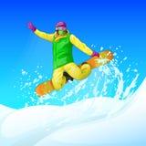 Snowboarder che fa scorrere giù la collina, uomo Immagini Stock