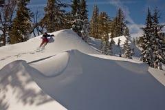 Snowboarder che fa un'escursione nella polvere Immagini Stock