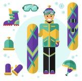 Snowboarder con el equipo Fotografía de archivo libre de regalías