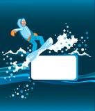 Snowboarder con il blocco per grafici Fotografie Stock