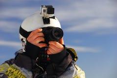 Snowboarder con la macchina fotografica Fotografia Stock Libera da Diritti