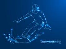 Snowboarder con un bordo sulle sue spalle illustrazione di stock