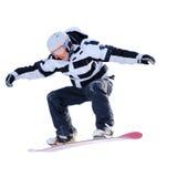 Snowboarder d'isolement sur le blanc image libre de droits
