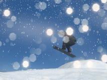 Snowboarder de Blured con los vuelos abstractos de Bokeh para el backgr del invierno Imagenes de archivo