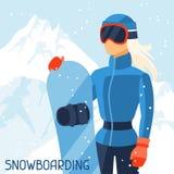 Snowboarder de la muchacha en paisaje del invierno de la montaña Imágenes de archivo libres de regalías