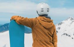 Snowboarder de la mujer joven Imagen de archivo