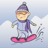 Snowboarder del fumetto di vettore Fotografia Stock Libera da Diritti