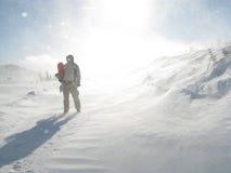 Snowboarder del hombre del espacio Fotografía de archivo