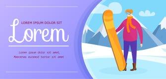 Snowboarder del hombre en monta?as Cartel del deporte de invierno libre illustration