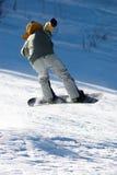 Snowboarder del vuelo Fotos de archivo libres de regalías