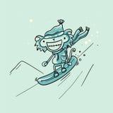 Snowboarder della scimmia di vettore Fotografie Stock