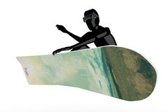 Snowboarder, der Bremsung in einer Luft tut vektor abbildung