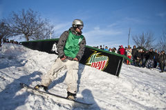 Snowboarder at the Dew Tour Royalty Free Stock Image