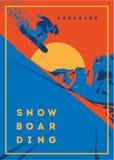 Snowboarder di Freeride nel moto Manifesto o emblema di sport Fotografie Stock