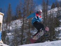 Snowboarder di volo Fotografie Stock Libere da Diritti