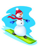 Snowboarder do boneco de neve Foto de Stock Royalty Free