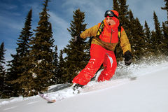 Snowboarder doing a toe side carve. Royalty Free Stock Photos