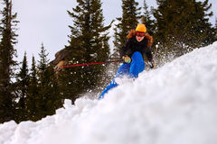 Snowboarder doing a toe side carve Royalty Free Stock Image