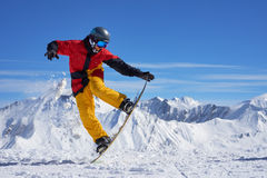 Snowboarder doing trick Stock Images