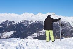 Snowboarder in Dolomites Stock Photo