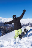 Snowboarder in Dolomites Royalty Free Stock Images