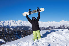 Snowboarder in Dolomites Stock Images