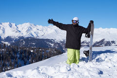 Snowboarder in Dolomites Royalty Free Stock Photography