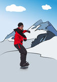 Snowboarder on downhill Stock Image