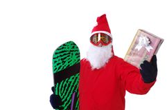 Snowboarder,dress as Santa Claus Royalty Free Stock Images