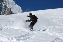 Snowboarder em Mt Blanc imagens de stock