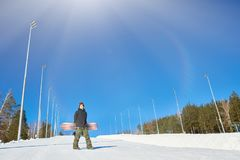 Snowboarder at Empty Piste stock images