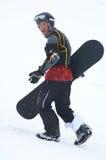 Snowboarder en defensa Fotos de archivo libres de regalías