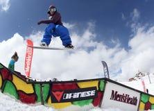Snowboarder en el parque Fotografía de archivo