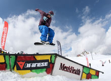 Snowboarder en el parque Fotos de archivo libres de regalías