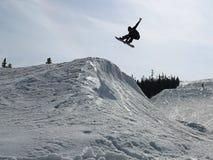 Snowboarder en esquina imagenes de archivo