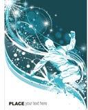 Snowboarder en fondo del invierno Imagen de archivo libre de regalías