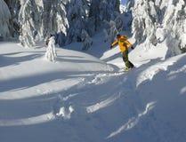 Snowboarder en jaune Photo libre de droits