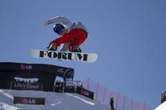 Snowboarder en la acción Fotos de archivo