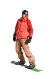 Snowboarder en la cuesta del esquí (aislada) Foto de archivo